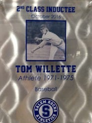 Tom Willette's plaque went up last weekend on the Salem