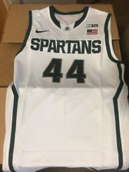A Michigan State basketball jersey that will be available
