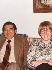Deb McMahon, right, with her father, Vernon Houchen,