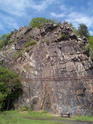 Shown is a present-day view of Chickies Rock, one of