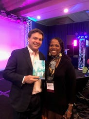 Rosalind with Steve Harrison at Quantum Leap Conference.