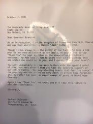 Barbara McInteer's letter to Gov. Terry Branstad in