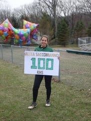 Alexa Saccomanno recorded her 100th career hit against