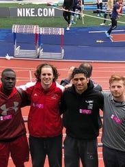 The Lakeland boys' track 4-x-100 relay team of (L-R)
