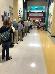 A line stretched down the hallway at Taylors Elementary