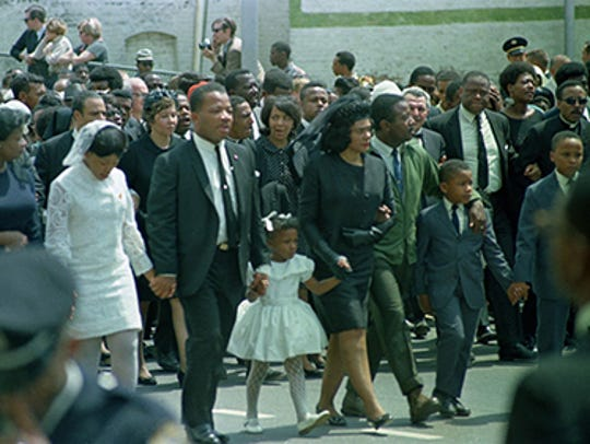 Coretta Scott King, center, widow of slain civil right