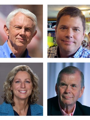 In campaign handout and staff photos, candidates for Michigan's 1st and 7th Districts are shown. Top left, Republican Jack Bergman, shown in a photo provided by the Bergman campaign, and Democrat Lon Johnson, shown in a Sept. 29 photo, are hoping to fill the seat of retiring third-term Republican congressman Dan Benishek in Michigan's 1st District. Bottom left, Democrat Gretchen Driskell, shown in a photo provided by the Driskell campaign, is challenging four-term Republican Tim Walberg, shown in a Sept. 19, 2015 file photo in Michigan's 7th District.