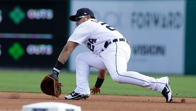 Tigers first baseman Miguel Cabrera fields a ground ball for an out against Twins rightfielder Max Kepler during the first inning on Saturday, Aug. 12, 2017, at Comerica Park.