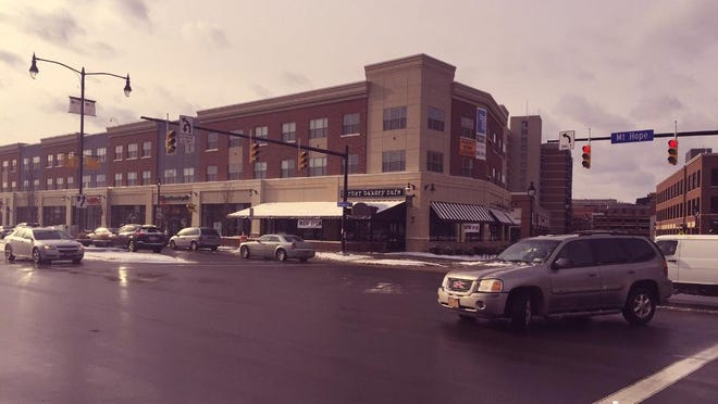 College Town along Mt. Hope Avenue now features new retailers such as Moe's and Insomnia Cookies.