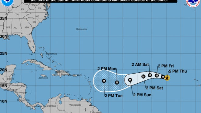 The projected path of Hurricane Irma as of 11 p.m. Aug. 31, 2017.
