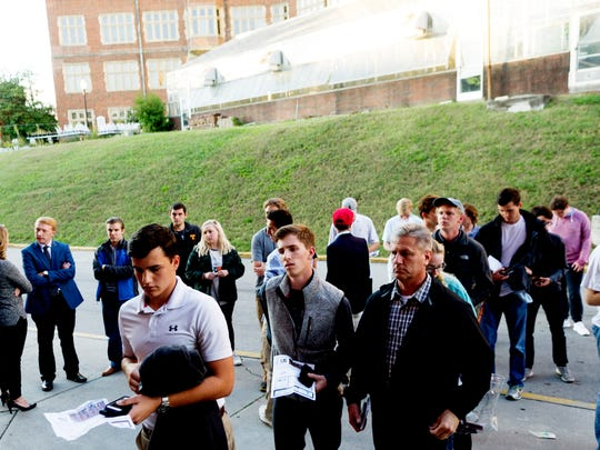 People line up outside during a presentation by conservative commentator Ben Shapiro at the Alumni Memorial Building at UT in Knoxville, Tennessee on Wednesday, October 18, 2017. The presentation was held by The Young Americans for Freedom, a conservative student group.