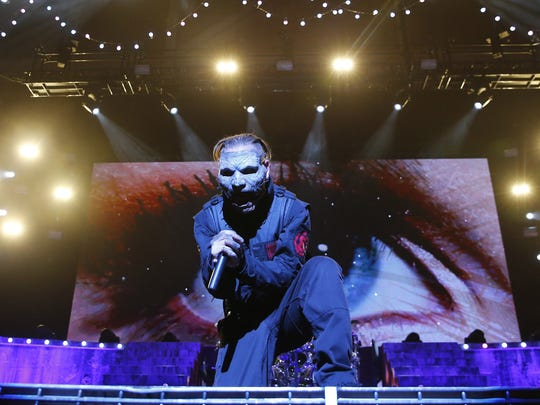 Slipknot performs after a weather delay Saturday, Aug.