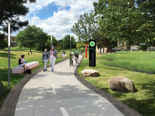 Proposed rendering of the improved Campau Greenway