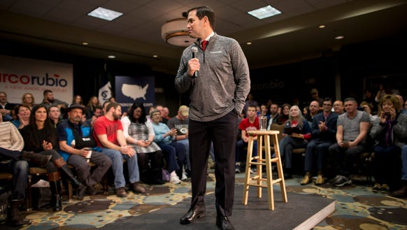 Marco Rubio speaks during a rally on Jan. 30, 2016,