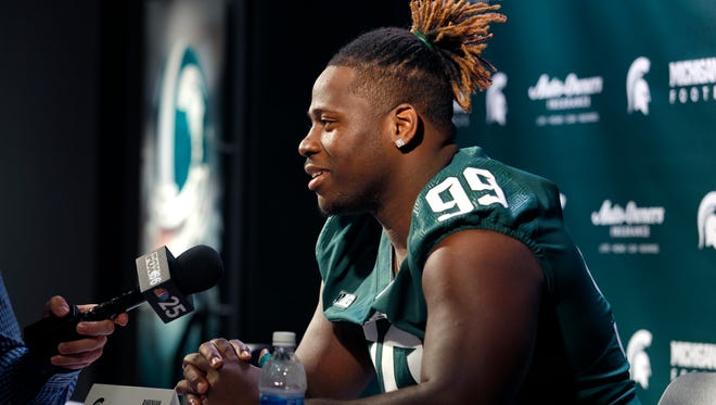 Michigan State defensive lineman Raequan Williams answers questions during the team's media day, Monday, Aug. 7, 2017 in East Lansing.