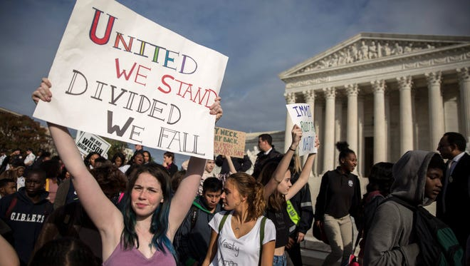 Students protest President-elect Donald Trump in front of the Supreme Court  in Washington on Nov. 15, 2016.