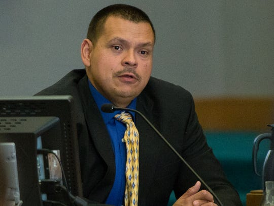 "Las Cruces Police officer Mike Leftault testifies on Wedenesday, May 25, 2016, at 3rd Judicial District Court about the things Tai Chan was saying the night of the shooting at Hotel Encanto de Las Cruces. ""He said there was a bomb or and explosive device on the third floor of the hotel,"" said Leftault."