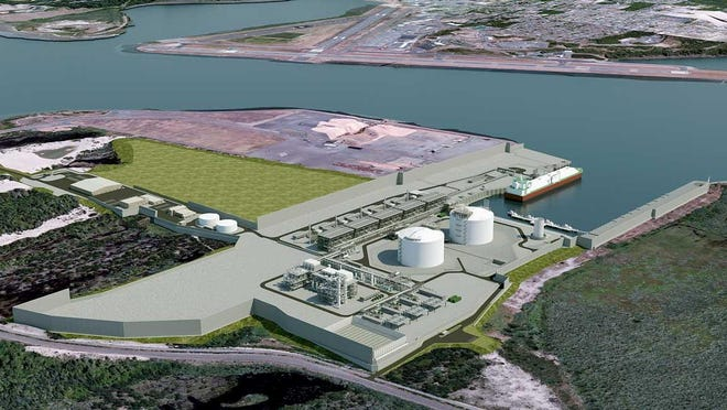 A rendering of the Jordan Cove Energy Project's planned terminal in Coos Bay shows a view from the northwest of the processing facility and marine slip.