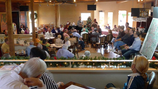 Palm Springs residents pack the dining room of the Twin Palms Bistro.