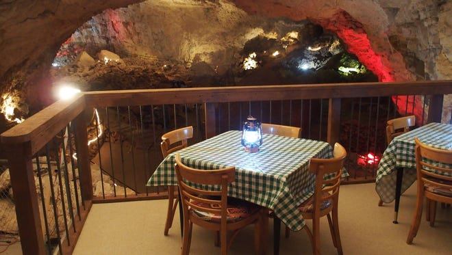 The Caverns Grotto dining platform offers a scenic underground view.