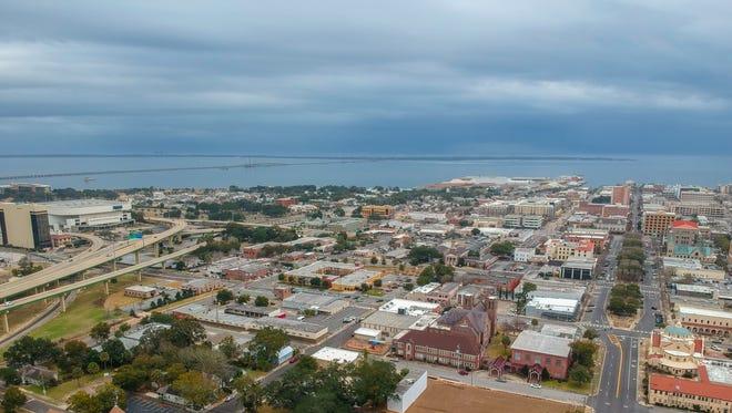 Aerial photo of downtown Pensacola.