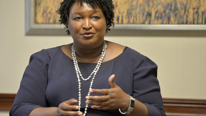 Former Georgia Democratic gubernatorial candidate Stacey Abrams speaks to members of The Augusta Chronicle editorial board during a 2018 visit.
