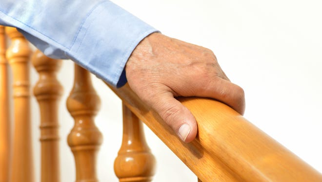 The use of a handrail when using stairs helps to ensure balance and reduce the chance of falls.