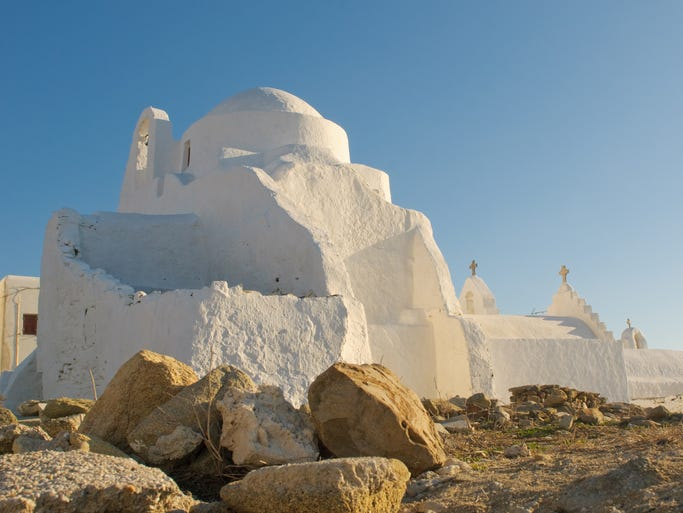 On the sophisticated and stylish island of                                                          Mykonos, the                                                          Church