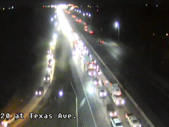 Traffic backed up along I-20 westbound past Texas Avenue