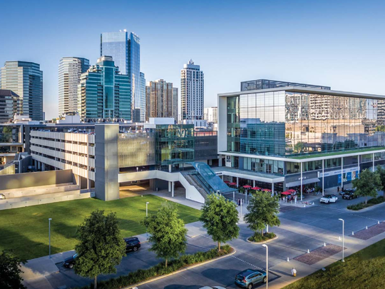 """Whitestone REIT invests in what it calls neighborhood """"go-to"""" centers, such as its BLVD Place in the Galleria area of Houston."""