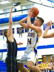 Waynesboro's Cameron Keck (24) scored a career-high 30 points to help the Indians to an 83-81 defeat of Dover on Monday night.