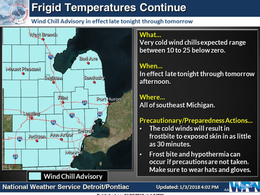 Wind Chill Could Hit 25 In Southeast Mich