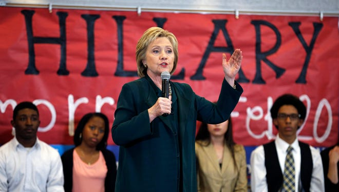 Democratic presidential candidate Hillary Clinton speaks to students at Del Sol High School on Friday in Las Vegas.