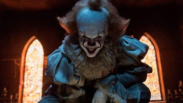 "Bill Skarsgård is evil clown Pennywise in ""It."""