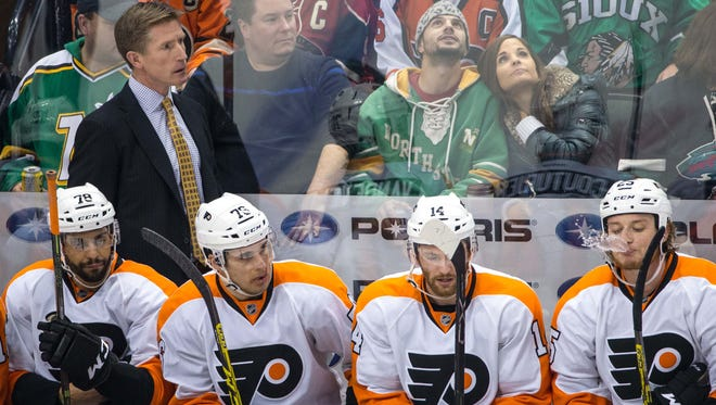 Coach Dave Hakstol and the Flyers will have their home opener Oct. 20 against the Anaheim Ducks.