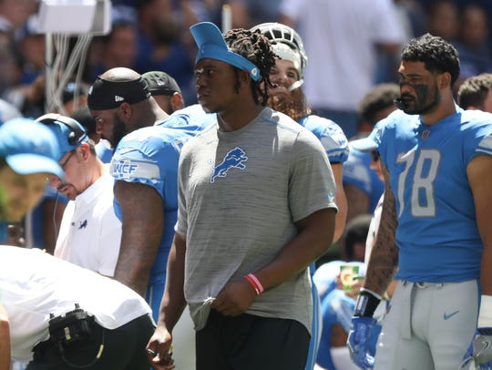 Defensive end Ziggy Ansah on the sideline in the first