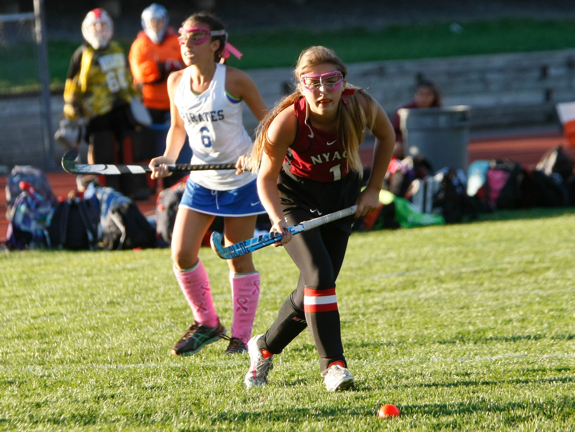 Nyack's Alyssa Varman (1) sets up a shot during a varsity field hockey game at Pearl River High School on Friday, Oct. 16, 2015.