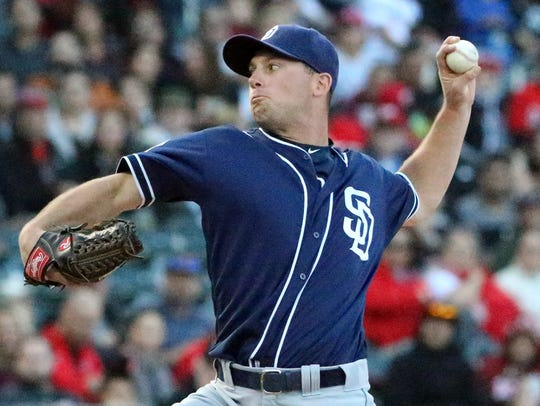 San Diego Padres pitcher Robbie Erlin lets the ball