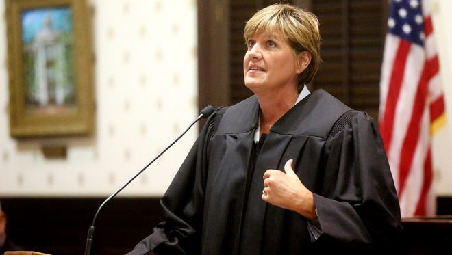 New Judge Lisa Eischeid talks about her faith and her father, who recently died, during her speech after being sworn in at the historic Rutherford County Courthouse on Thursday, Aug. 18, 2016.