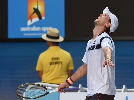 Italy's Andreas Seppi celebrates after his victory