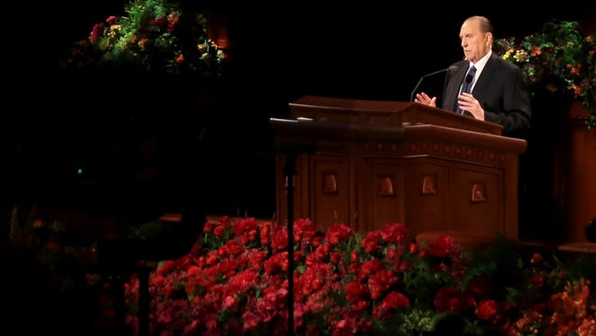 President Thomas S. Monson speaks during the Sunday morning session of the 184th Semiannual General Conference of The Church of Jesus Christ of Latter-day Saints in Salt Lake City.