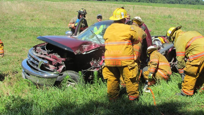 One person was flown by medical aircraft to a Norfolk hospital after a crash Monday morning, July 9, 2018, in Tasley, Virginia involving a pickup truck and farm equipment.