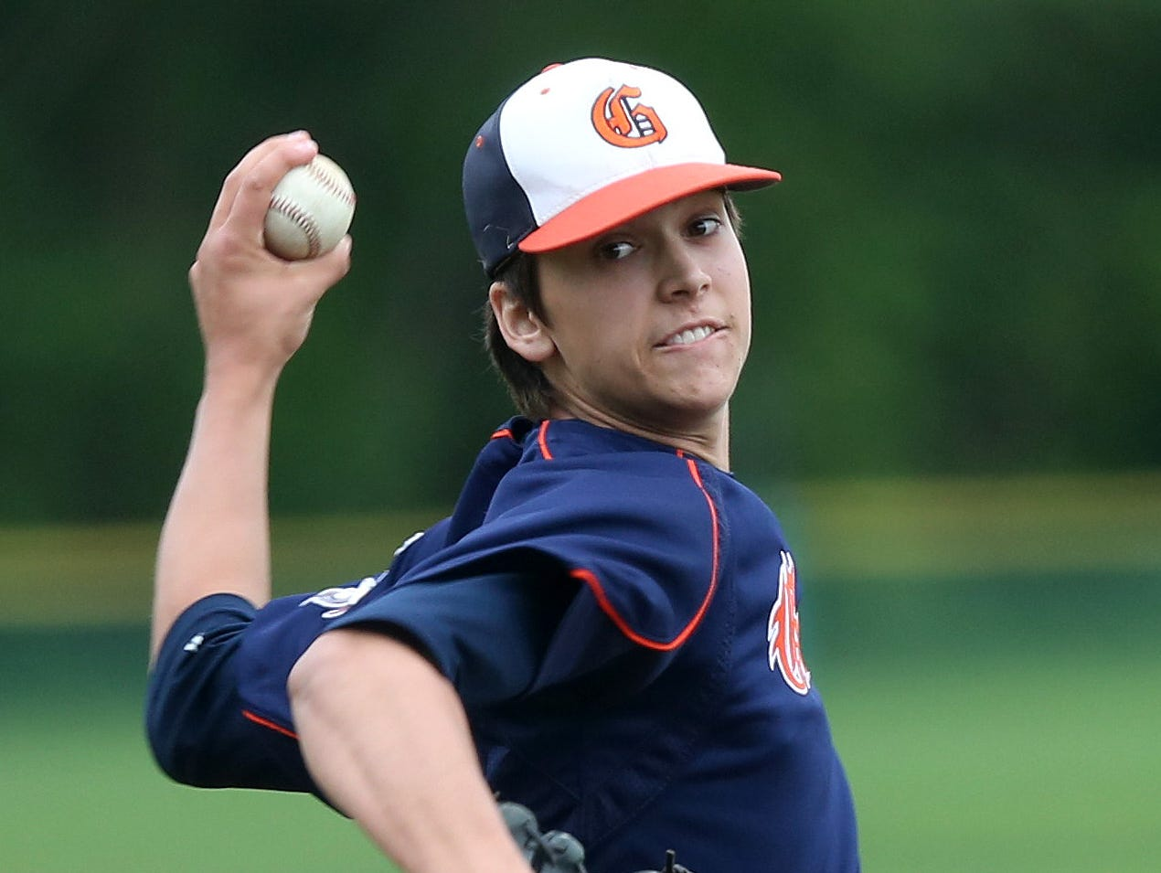 Horace Greeley's Brandon Neeck pitching against White Plains during a Section 1 boys baseball playoff game at White Plains High School May 21, 2016.