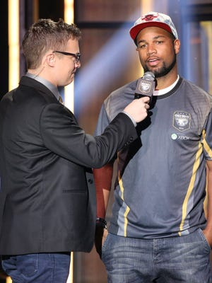"""Detroit Lions wide receiver Golden Tate attends the """"Call of Duty"""" championship Sunday, March 29, 2015, in Los Angeles."""