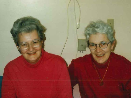 Mary Keane in the nursing home with her sister Helen