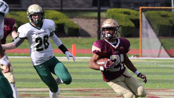 Iona Prep's Jaden Lambert returns an interception during