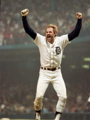 Kirk Gibson celebrates the Detroit Tigers' World Series win in 1984.