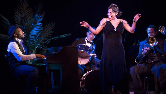 """Brandon Victor Dixon and Audra McDonald perform in """"Shuffle Along, or the Making of the Musical Sensation of 1921 and All That Followed"""" at The Music Box Theatre in New York."""