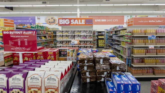 Food items are sold at the Big Lots Polaris Parkway location on the North Side on Thursday. While many retailers are struggling through the pandemic, Columbus-based Big Lots has benefited from the sale of indoor and outdoor furniture, lawn and garden supplies, and food.