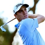 Justin Thomas plays his shot from the second tee during the first round of the Frys.com Open
